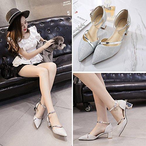 y para UE afiladas Europa América Zapatos hebillas alto con sexy de de mujer black nuevas sandalias RUGAI huecas tacón XHAwqxqa