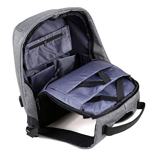 Laptop Rucksack 15,6 zoll , with USB Charge Wasserdichte Nylon Schulerucksack strapazierfähig Reisetache Hiking Knapsack College Studenten Tagesrucksack mit Schulterreimen Grau