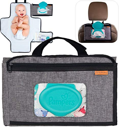 liuliuby Smart Changing Kit - Portable Diaper Changing Pad with Front Wipe Pocket and Bonus Wipe Pouch - Extra Large Mat for Baby and Toddler