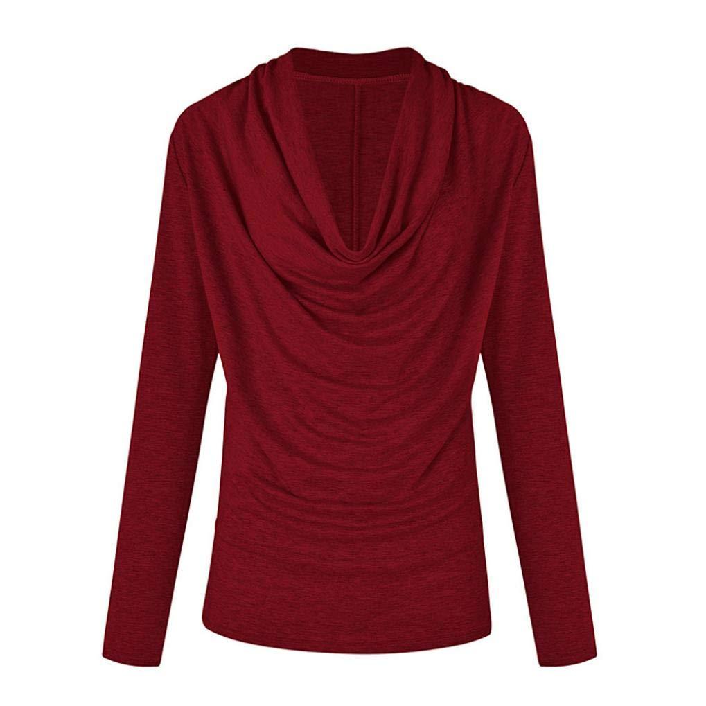 MERICAL Women T Shirt Autumn Winter Long Sleeve Surround Collar Solid Tops ❤ MERICAL WOMEN BLOUSE NO.1