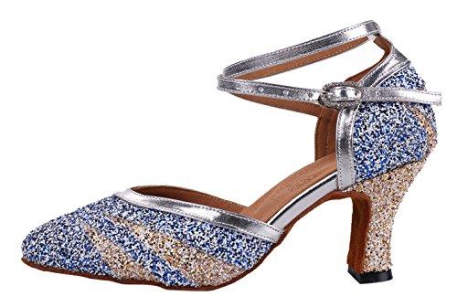 Honeystore Frauens Kunstleder Heels Absatzschuhe Moderne mit Knöchelriemen Tanzschuhe Blau und Champagner