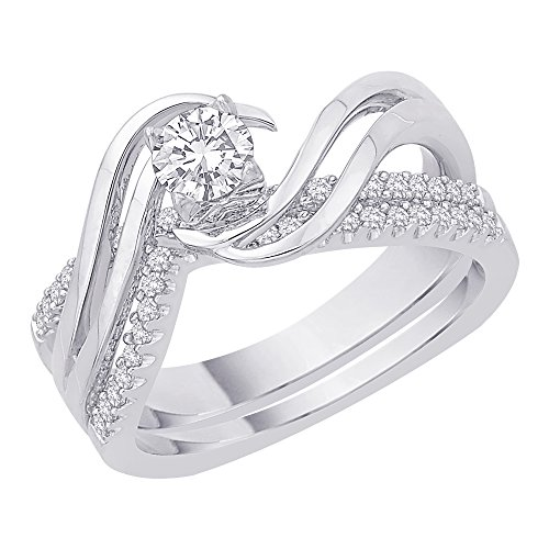 Diamond Twist Bridal Engagement Ring with Matching Band in 14K White Gold (1/2 - Ring Twist Shank