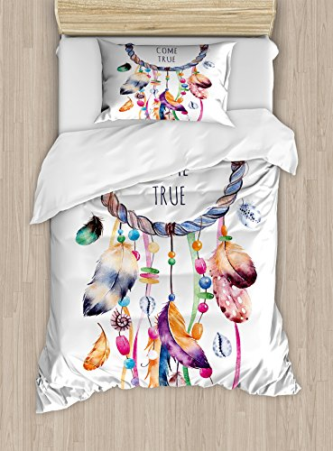 Feather Duvet Cover Set Twin Size by Ambesonne, Ethnic and Tribal Native American Dream Catcher Illustration Bohemian Style Image, Decorative 2 Piece Bedding Set with 1 Pillow Sham, (Images Contemporary Style Single)