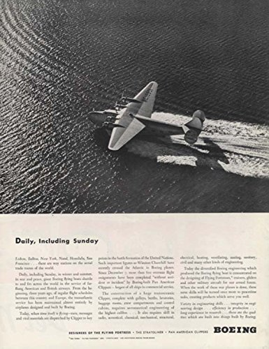Daily, including Sunday - Pan Am Boeing 314 Clipper Flying Boat ad 1942 SEP