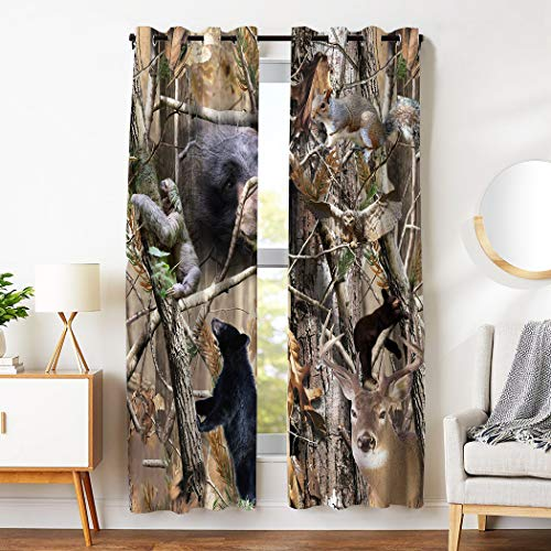 SXCHEN Blackout Curtains 2 Panels Grommet Curtains for Bedroom Camouflage Bear Deer Squirrel W28 x L48 Inch   (Curtain Wildlife Rods)
