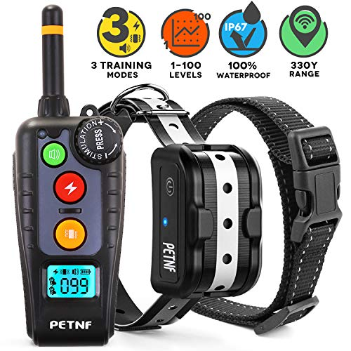 - Shock Collar for Dogs,2019 Newest Dog Shock Collar with Remote,Dog Training Collar, Electric Bark Collar Rechargeable Waterproof,3 Training Modes,Remote Range Control,Backlight LCD Screen,Anti Leakage