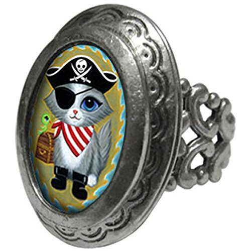 Women's Classic Hardware Pirate Kitty Small Oval Pop Art Locket Ring 7