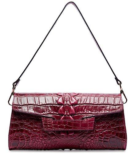 - PIFUREN Women Crocodile Leather Clutch Designer Crossbody Shoulder Handbag for Party M1102 (One Size, Purple) …