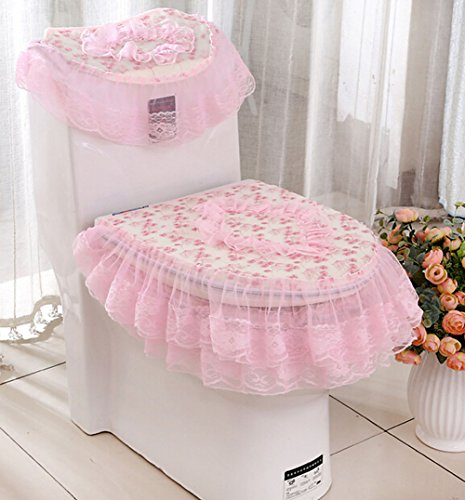 Pastoral Lace Cloth Bathroom Toilet Decor 3-piece Tank Cover, Toilet Seat Cover Set lace Zippered Toilet Seat Cover Set (pink) by HOMESUPPLIES