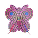 Kids Toy Magnetic Maze,Miya Children Magnetic Maze Toy Butterfly Shape Children's Wooden Puzzle Game Toy Kids Early Educational Brain Teaser Wooden Toy Intellectual Jigsaw Board - Butterfly