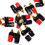 20pcs Black and Red Plastic Shell Speaker Terminal Binding Post Power Amplifier Dual 2-way Banana Plug Jack