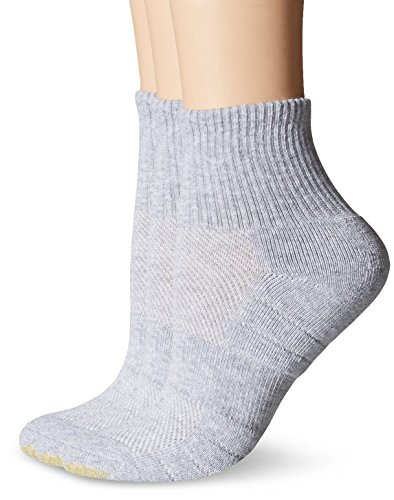 Gold Toe Women's Aqua Fx Zone Quarter Athletic Sock (Pack of 3), Grey Heather, 9-11