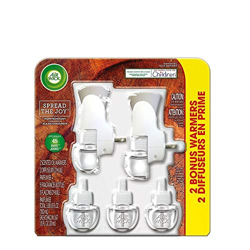 Air Wick Special Pack Scented Oil Air Freshener Starter Kit, Warm Mahogany, (2 Warmers + 5 Refills) ()