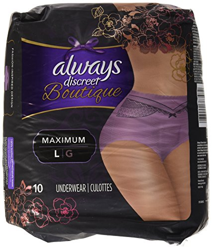 10 Count (1 Package) Large, Always Discreet Boutique Incontinence Underwear Maximum, Mauve