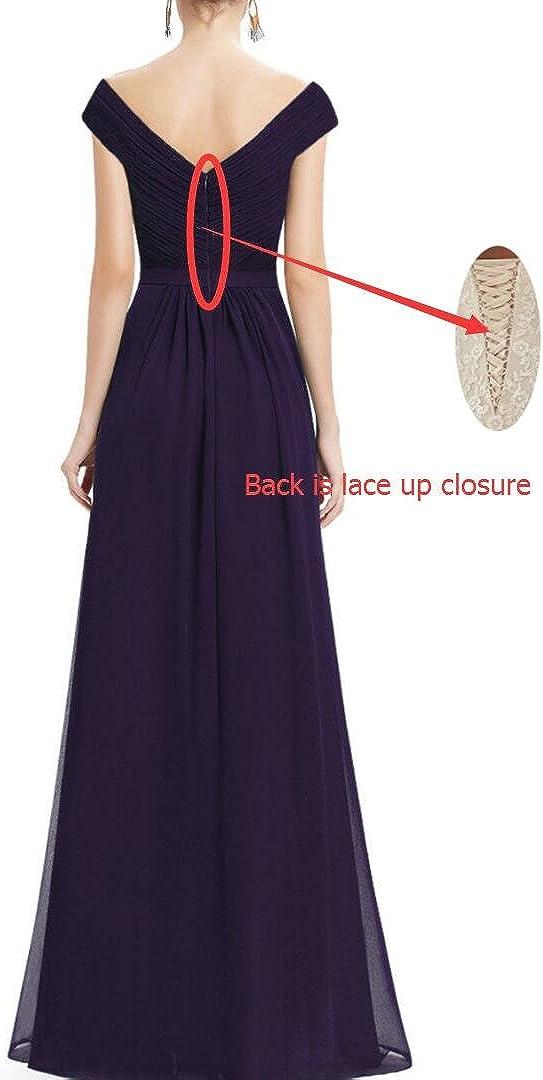 Yilis Elegant V-Neck Chiffon Slit Long Bridesmaid Dress Wedding Formal Evening Gowns
