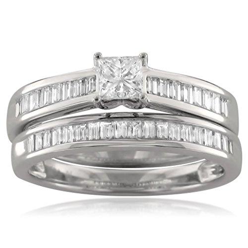 14k White Gold Princess cut & Baguette Diamond Engagement Bridal Set Wedding Ring (1 cttw, H I, I1)