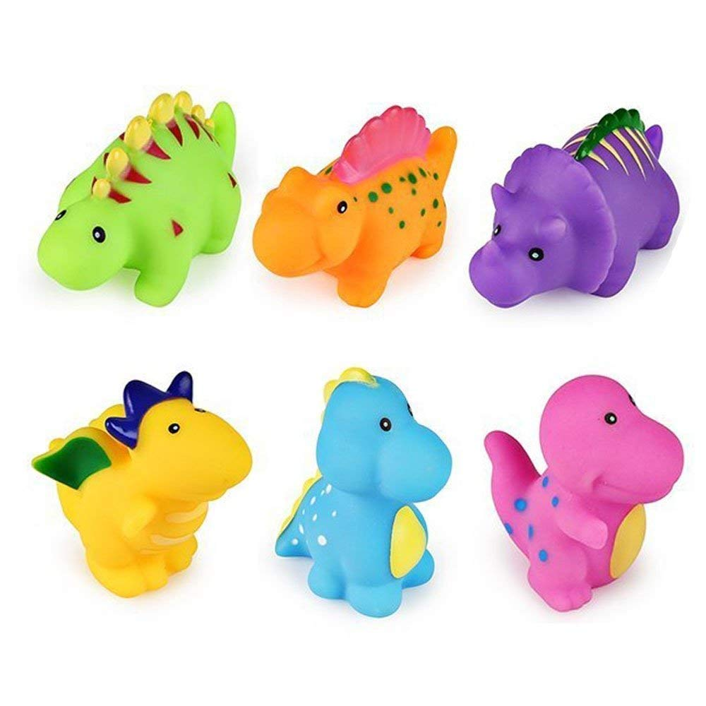 J-Deal Baby Bathtub Toys Floating Whistle Bathroom Toy 6 pcs Little Dinosaur Squirts Fun Bath Toys Dinosaur Party Soft Rubber Toys Swimming for Children Kids Infant Toddler