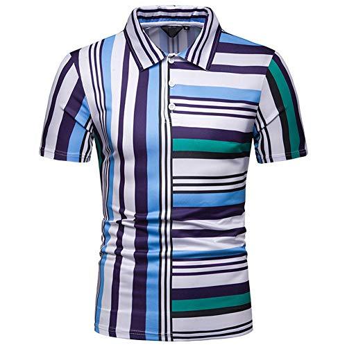 Pradai Men Polo Shirt,Summer Fashion Classic Leisure Short Sleeve Shirt,Breathable Slim Fit Multicolor Stripe T-Shirt,Blue,L