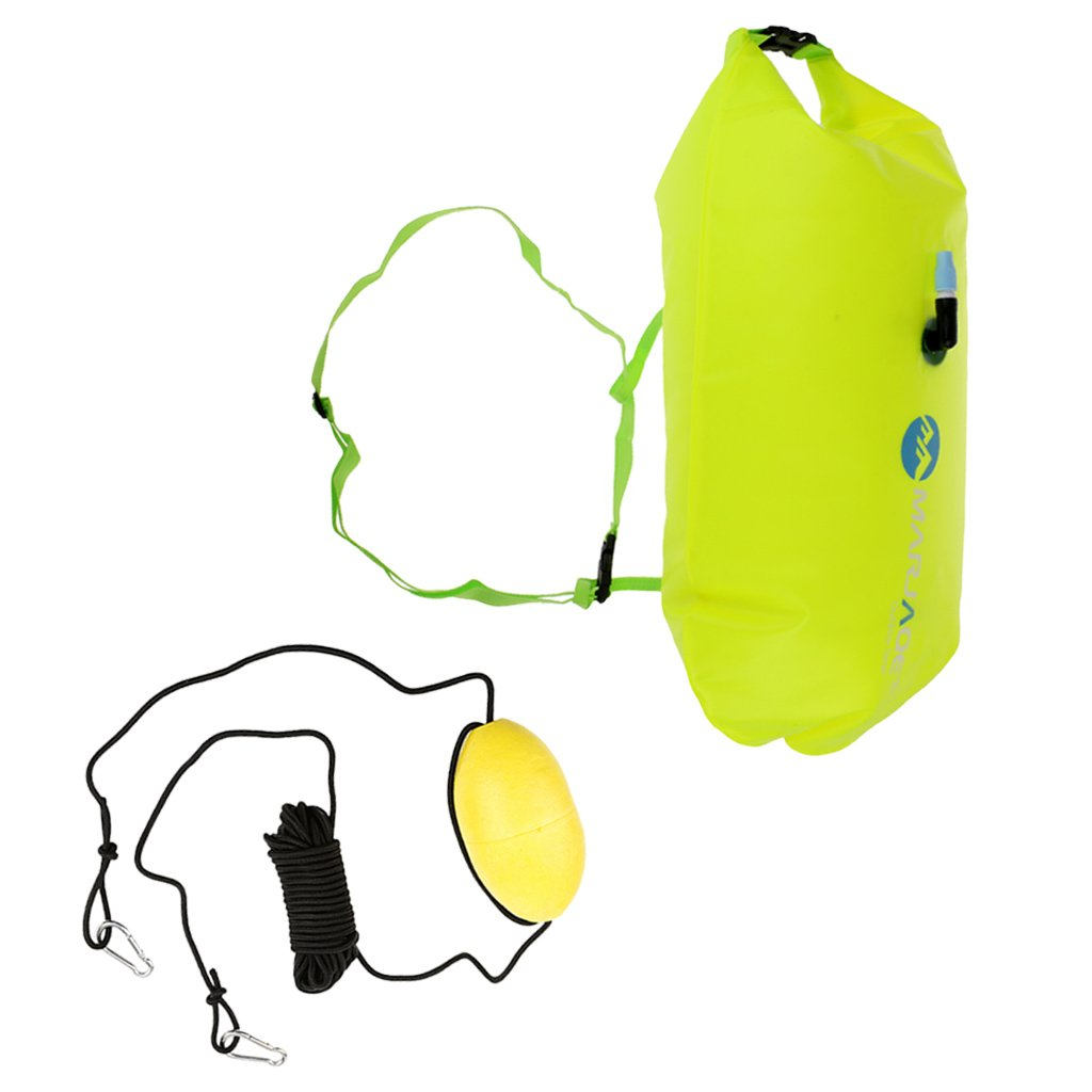 Prettyia Highly Visible Fluo Yellow Open Water Swimming Buoy Floating Dry Bag Sack