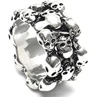 Goodtimes28 Mens Vintage Gothic Skull Finger Charm Stainless Steel Punk Biker Knuckle Ring