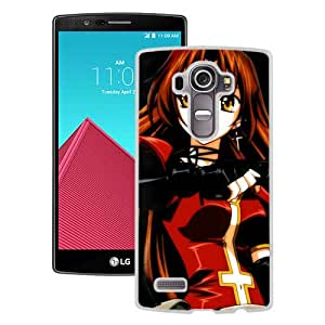 Popular And Unique Designed Cover Case For LG G4 With Eclair Kiddy Grade Anime Girl Brunette Posture white Phone Case