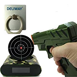 DELIWAY Newwest Version Novelty USB Gun Alarm Clock Funny Target Shooting Game Toys Gifts For Chirstmas New Year (Camouflage)