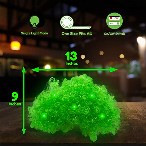 Fun Central LED Light Up Afro Wig - St. Patrick's Day Costume Accessory for Men and Women - Green - http://coolthings.us