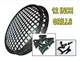 SPEAKER GRILLS 2 Pieces 12'' INCH GRILL WAFFLE SUB WOOFER CLIPS AND SCREW