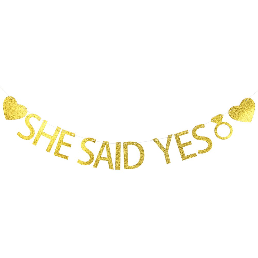 Lovely BITON Gold She Said Yes Letters Banner Decoration Kit Themed Party Banner for Birthday Wedding Showers Photo Props Window Decor