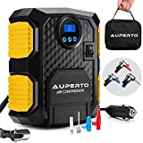 portable air compressor 110v - AUPERTO Portable Air Compressor Pump Digital Tire Inflator,12V Auto Tire Pump with LED Light 150 PSI,3M Cord and 3 Valve Adapters