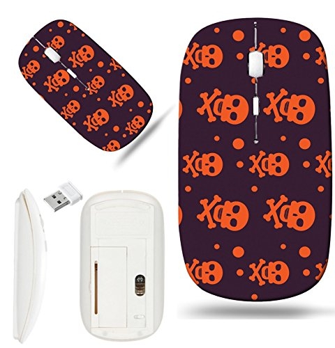 Luxlady Wireless Mouse White Base Travel 2.4G Wireless Mice with USB Receiver, 1000 DPI for notebook, pc, laptop, mac design IMAGE ID: 44353655 Happy Halloween Background Seamless pattern Collection o