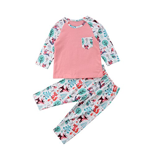 Infant Baby Girls Tracksuit Outfit,Newborn Long Sleeve Animal Print T-Shirt Top and Pants Set (Animal Tracks T-shirt)
