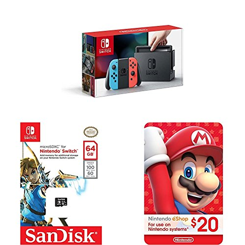 Nintendo Switch + SanDisk 64GB + $20 Nintendo eShop Gift Card Only $299 #PrimeDay