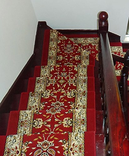 Wood Ships Ladder - Carpet Stair Treads Runner Rug pad (Set of 5),High-density Thickened Stair Step Pad, Free Self-adhesive Non-slip Rubber Mats Wood Stairs Step Carpet Floor Mats (Color : G, Size : 10024cm)