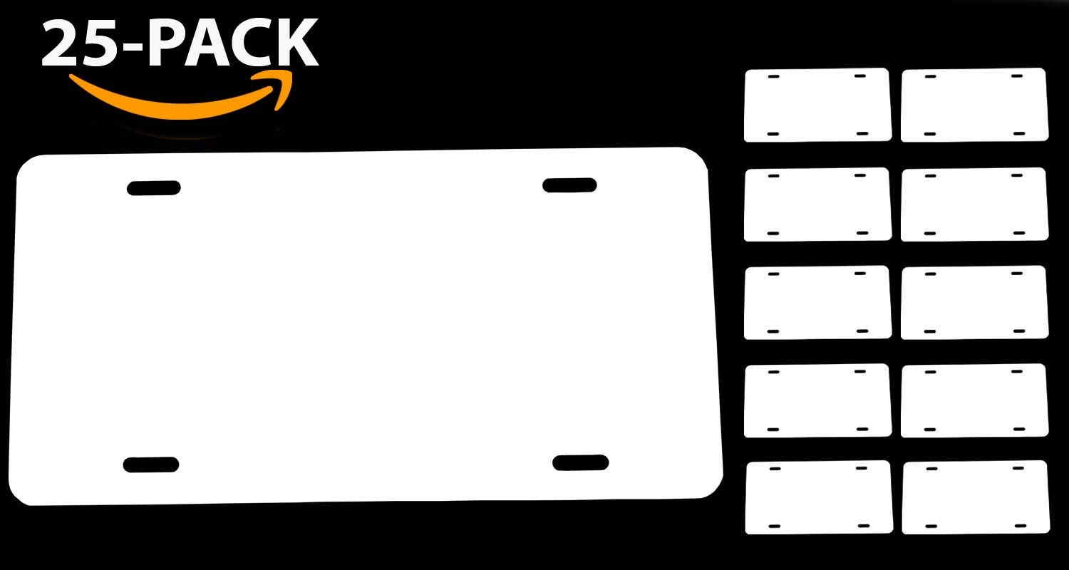 WHITE Aluminum Blank License Plate 1-PACK US//Canada Size 12x6 0.025 Thickness//0.5mm