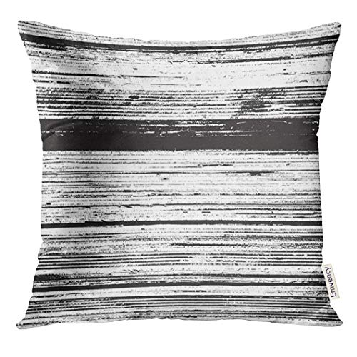 Grunge Overlays - TOMKEYS Throw Pillow Cover Black Stripe Striped Grunge Overlay for Your Design Empty Distressed Wooden Fiber White Distress Line Decorative Pillow Case Home Decor Square 18x18 Inches Pillowcase