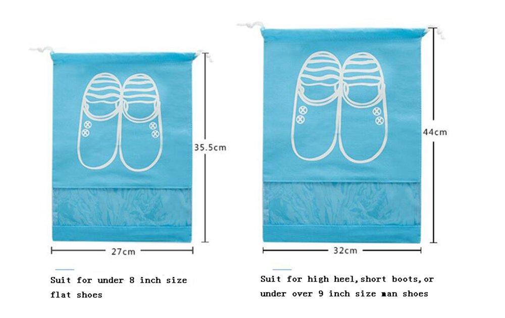 YUMMAYEE 10 Pcs Dust-proof Shoe Bags Drawstring with Window Travel Shoe Storage Bags Shoes Organizer Light Blue by YUMMAYEE (Image #9)