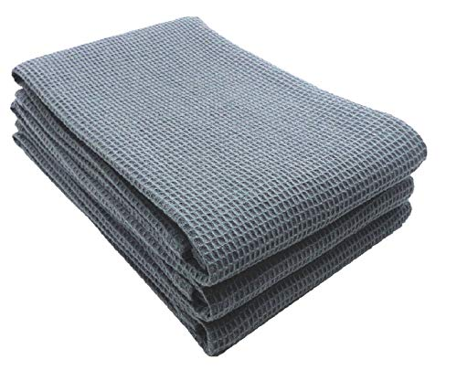 ton Kitchen Dish Towel, Ring Spun Cotton in Classic Waffle Weave, Multi-Purpose Kitchen Napkin Dish Towels 3 Pack 17 inch x 25inch Grey ()