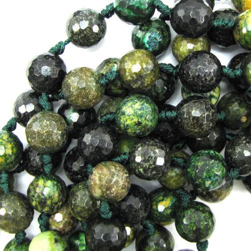 - 14mm Faceted Brown Green Jasper Round Beads 14