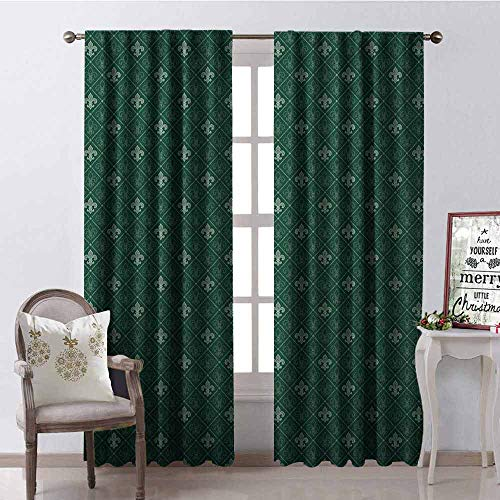 - Gloria Johnson Fleur De Lis Wear-Resistant Color Curtain Ancient Baroque Pattern Medieval French Motifs Royal Ornate Classic Waterproof Fabric W52 x L95 Inch Hunter and Sage Green