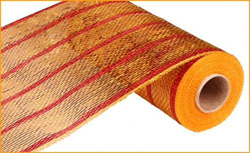 10 inch x 30 feet Deco Poly Mesh Ribbon - Wide Gold & Thin Laser Red Mesh