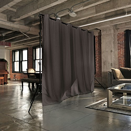 RoomDividersNow Premium Heavyweight Freestanding Room Divider Kit - Small A, 8ft Tall x 7ft - 12ft 6in Wide (Dark Chocolate)