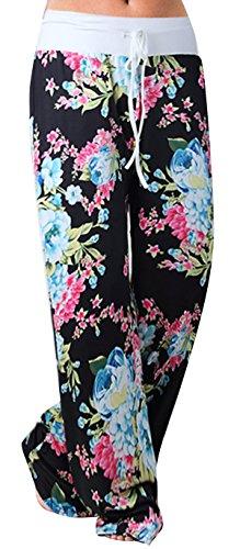 Sexymee Women's Casual Pajama Pants Wide Leg Floral Print Drawstring Palazzo Lounge Yoga Pants,Black -