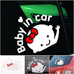 1 Pc Cool Popular Baby In Car Sticker Truck Vinyl Window Decor Safety Signs Girl Style Color White