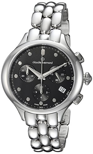 Claude Bernard Women's 'Code Chronograph' Swiss Quartz Stainless Steel and Leather Dress Watch, Color:Black (Model: 10232 3M NIN)