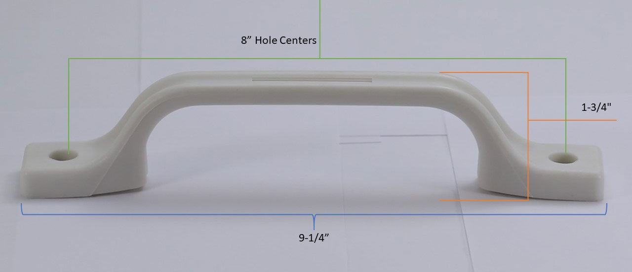Boat OEM Replacement Cargo Trailer White 2-Pack Motor Home Trailer Camper Plastic - Hamilton Bowes RV External Handle Entry Grab Door Assist Bar for RV
