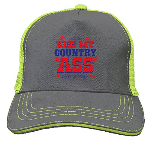 Tcombo Kiss My Country Ass Twill Soft Mesh Trucker Hat (Charcoal/Neon Yellow) -
