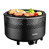 Cheap Aicok Portable Smokeless Charcoal Grill, BBQ Grill, Compact Barbecue Grill for Backyard, Camping, Picnic and Party, Removable Electric Fan, Travel Bag, Black
