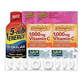 Hangover Kit – Vitamin, Tablets, Advil Pills, 5 Hour Energy, Pepto Bismol, for Bachelorette Party; Strength and Pain