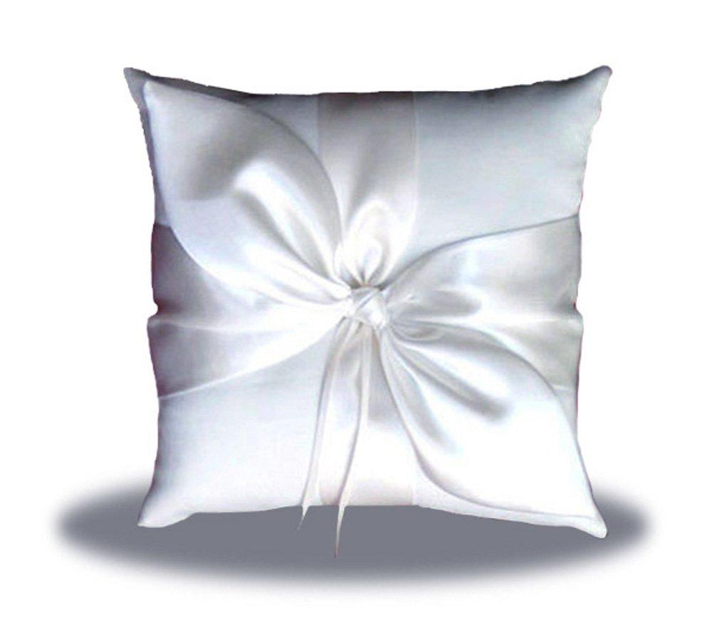 SACASUSA(™) White Satin Bow Wedding Ring Pillow Bearer by SACASUSA